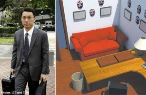A graphical representation of what the red couch looks like when clean. Kindly ripped off The Straits Times.