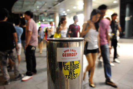 In George We Trust stickers seen last year during GE2011 at Orchard Road.