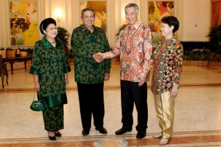 At the 2013 Singapore-Indonesia Leaders retreat. Pic stolen from PM Lee's own facbeook page.