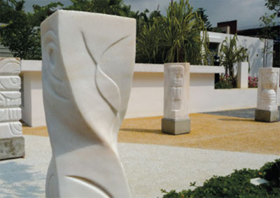 All the marble sculptures can be found outside the NUS Alumni House.