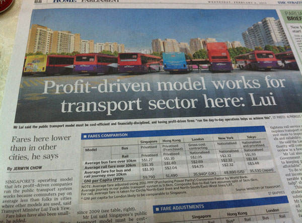 Singapore's transport sector is apparently profit driven.