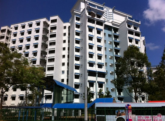 HDB flats painted in Workers' Party blue.