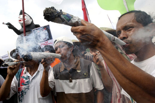 The potential enemy having a smoke in Indonesia.