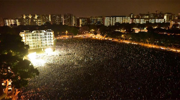Only 95,000 attended the Workers' Party GE2015 Hougang rally, marking a new Low (pun intended).